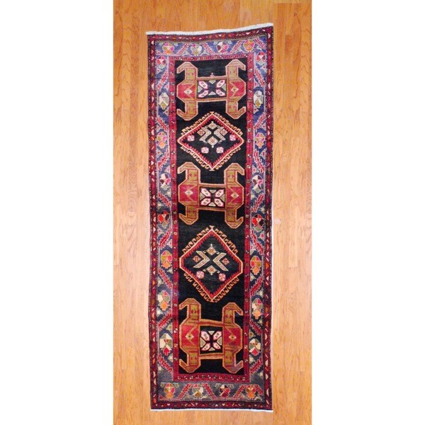Persian Hand-knotted 1970's Hamadan Black/ Rust Wool Runner (3'7 x 11')