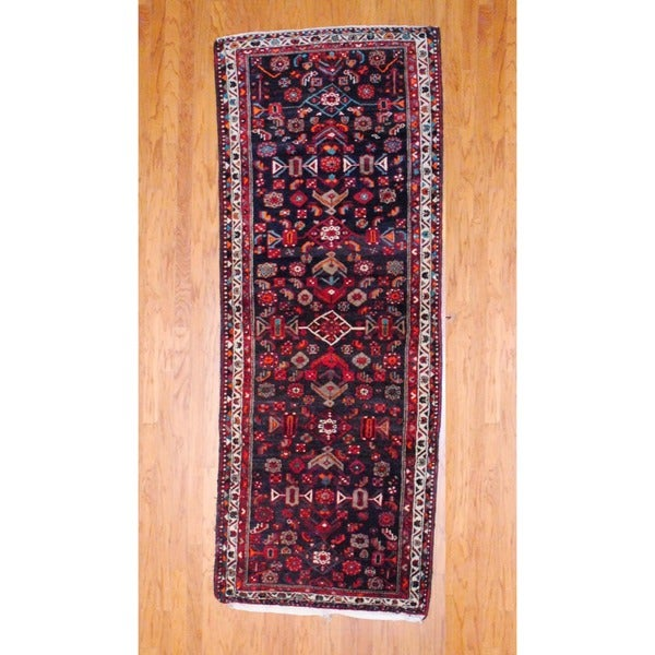 Persian Hand-knotted 1970's Hamadan Black/ Red Wool Runner (3'7 x 9'5)