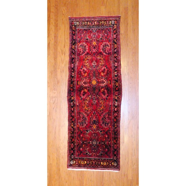 Persian Hand-knotted 1970's Hamadan Red/ Black Wool Runner (3'5 x 9'8)