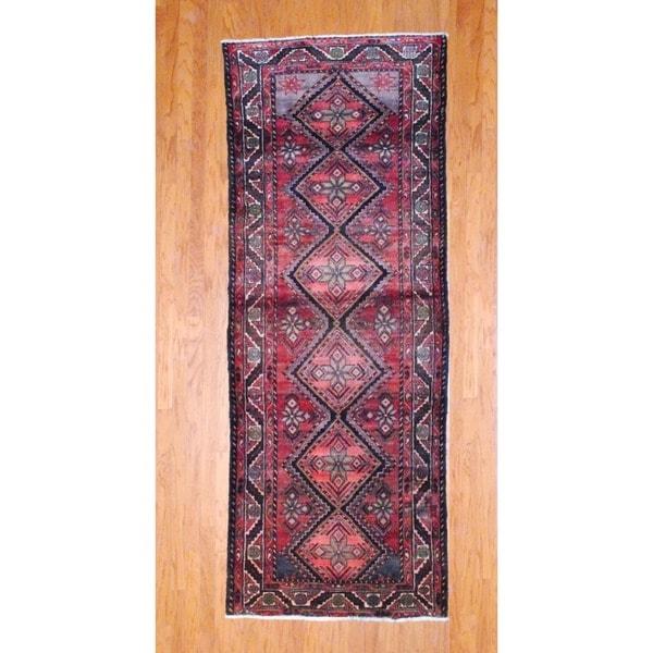 Persian Hand-knotted 1970's Hamadan Rust/ Black Wool Runner (3'8 x 9'9)
