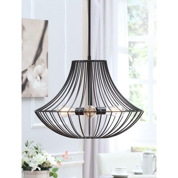 Renate 3-light Distressed Iron Black Wire Chandelier