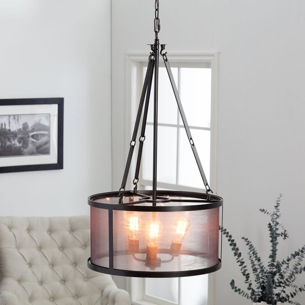 Organza / Wire 3-light Distressed Iron Black Chandelier