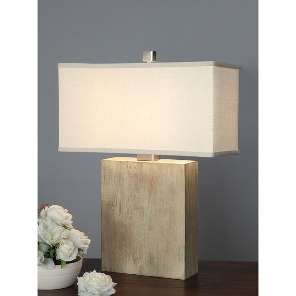 Latte Block Table Lamp with Cream Shade