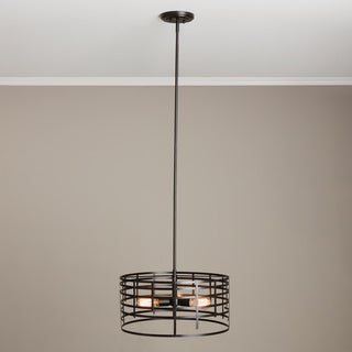 Renate 3-light Distressed Iron Black Spiral Round Chandelier