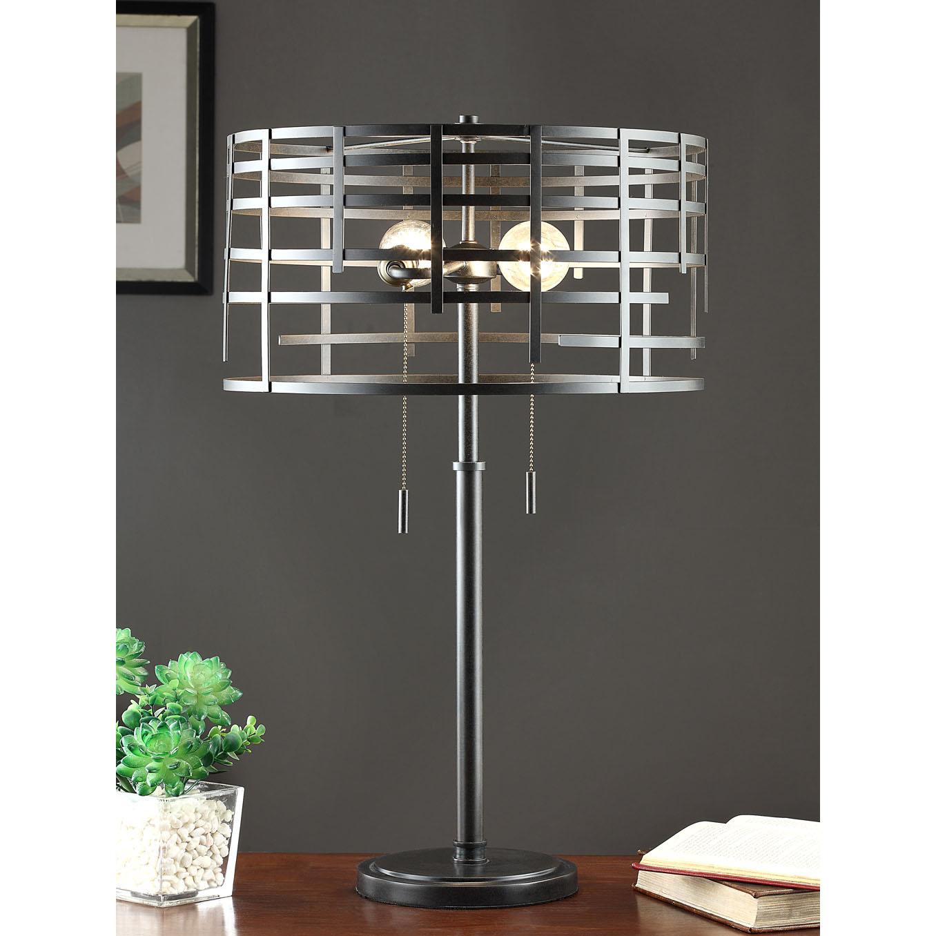Renate Spiral Round Table Lamp, Black (Iron)