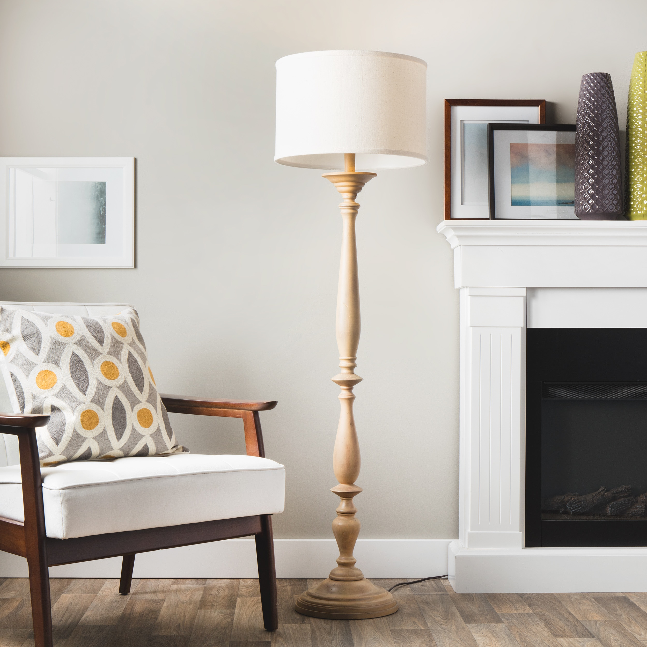Latte Spindle Floor Lamp With