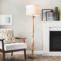Latte Spindle Floor Lamp with Cream Shade