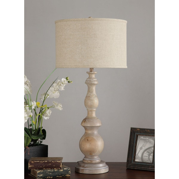 I Love Living Latte Grand Milk-washed Wooden 38-inch Oversized Table Lamp