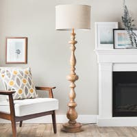 I Love Living Latte Grande Brown Milk-washed Wood and Linen Shade Floor Lamp