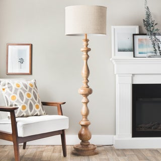 The Gray Barn Latte Grande Brown Milk-washed Wood and Linen Shade Floor Lamp