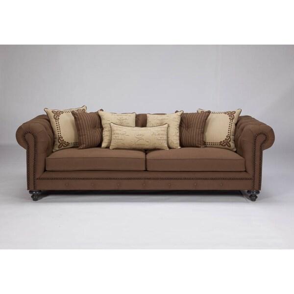 JAR Designs 'Alphonse Tufted' Chocolate Sofa