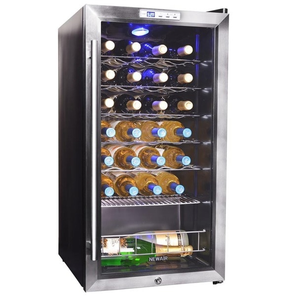 Newair 27 bottle compressor wine cooler free shipping for Modern homes 8 bottle wine cooler