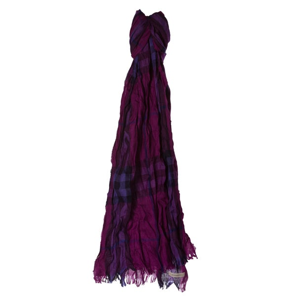 Burberry Purple Giant Check Wool/ Cashmere Crinkle Scarf