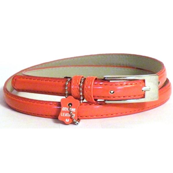 Women's Orange Leather Skinny Dress Belt