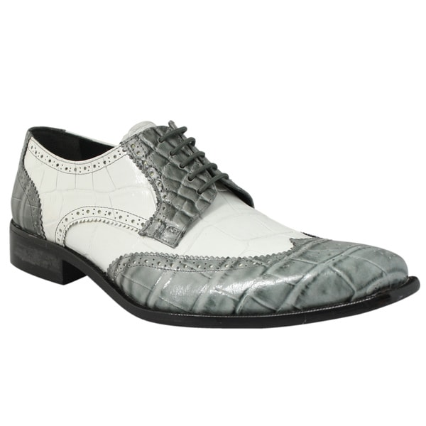 Giorgio Brutini Men's Gray/ White Leather Oxfords
