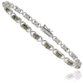 Dolce Giavonna Silverplated Marcasite Square Infinity Link Bracelet