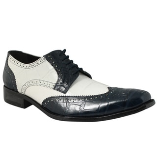 Giorgio Brutini Men's Navy/ White Leather Oxfords