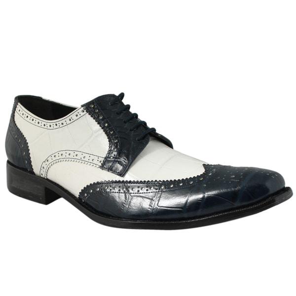Giorgio Brutini Men's Navy/ White Leather Oxfords