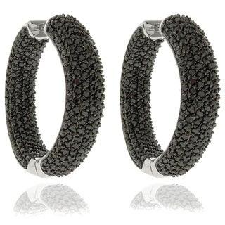 Dolce Giavonna Silverplated Black Cubic Zirconia Hoop Earrings