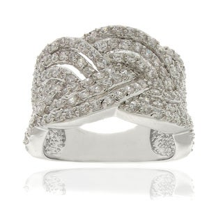Dolce Giavonna Silverplated White Cubic Zirconia Braided Ring