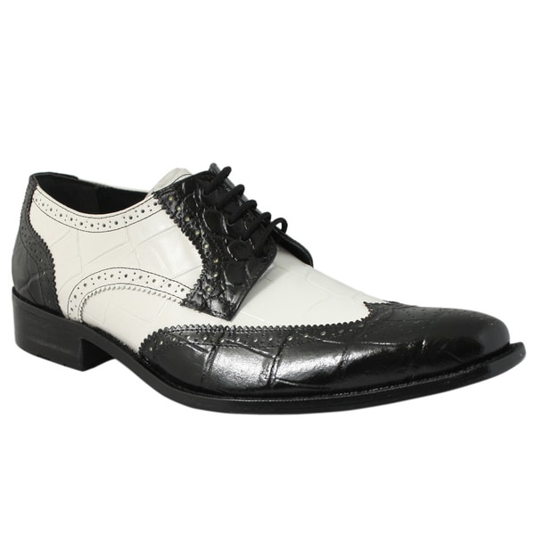 Giorgio Brutini Men's Black/ White Leather Oxfords