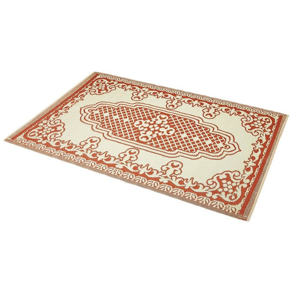 Handmade Indoor/Outdoor Rug Orange/Ivory (6' x 4') (India)