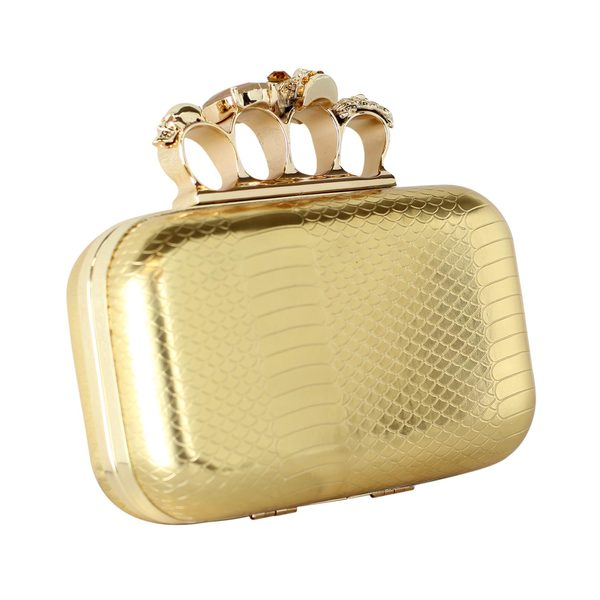Trend Essentials 'McQueen' Gold Faux Python Knuckle Ring Box Clutch
