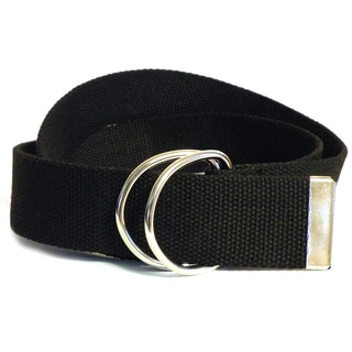 Men's Black Canvas Double Hoop Belt