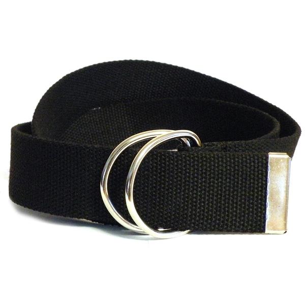 Men's Black Canvas Double Hoop Belt