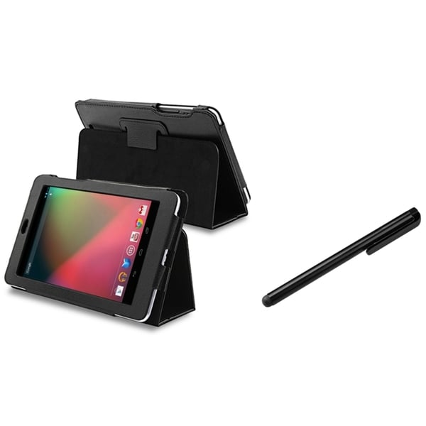 INSTEN Black Leather Phone Case Cover Stand/ Black Stylus for Google Nexus 7