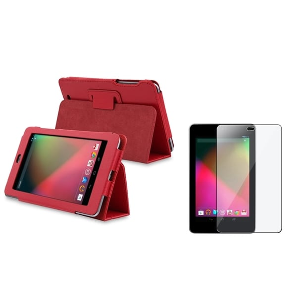 INSTEN Red Leather Stand Phone Case Cover/ LCD Protector Google Nexus 7