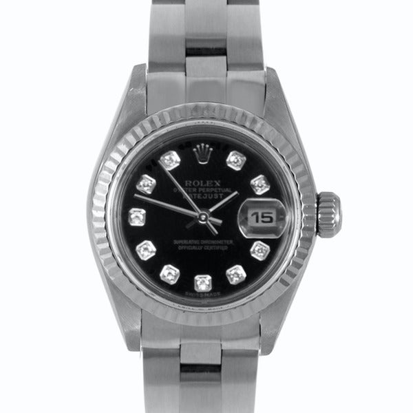 Pre-owned Rolex Women's Stainless Steel Datejust Diamond Watch