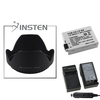 INSTEN Battery/ Charger/ Lens Hood for Canon Rebel/ T2i/ T3i/ EOS 550D