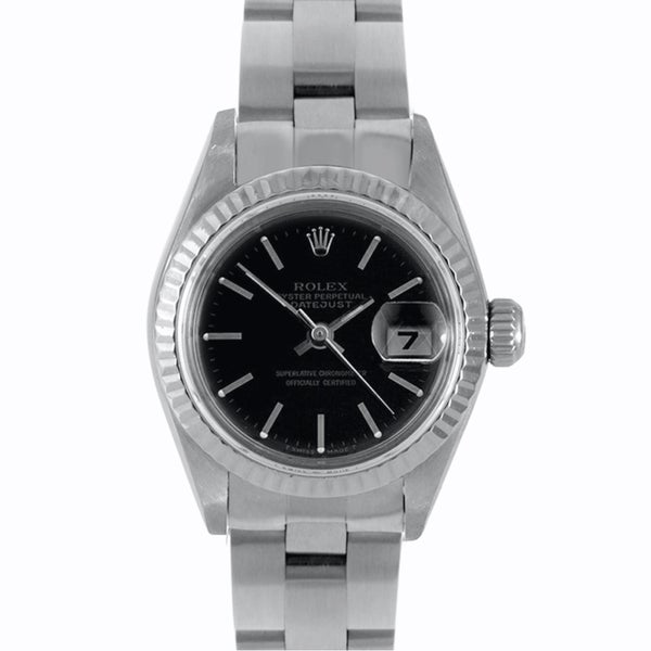 Pre-Owned Rolex Women's Black Dial Stainless Steel Datejust Watch