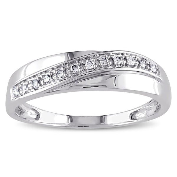 Miadora Men's or Women's 10k White Gold 1/10ct TDW Diamond Band