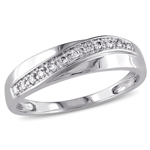 Miadora 10k White Gold 1/10ct TDW Diamond Wedding Band (Choice of Gender)