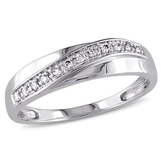 Miadora Men's 10k White Gold 1/10ct TDW Diamond Wedding Band
