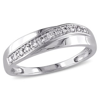 Miadora Men's 10k White Gold 1/10ct TDW Diamond Wedding Band (More options available)