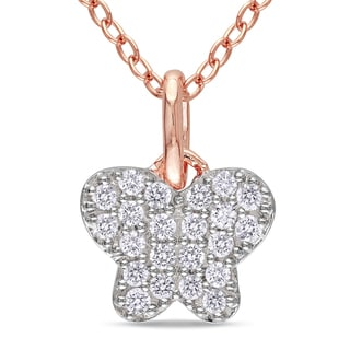 Miadora Rose Rhodium-plated Silver Diamond Necklace (H-I, I2-I3)