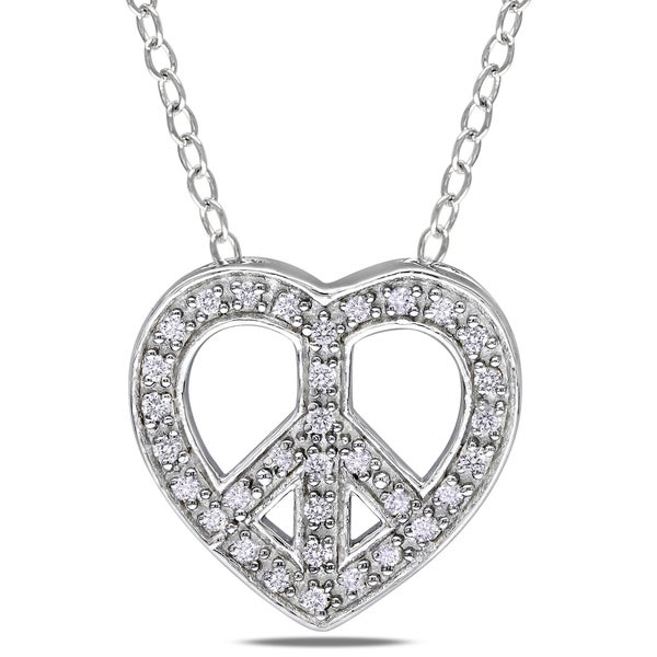 Sterling Silver 1/10ct TDW Diamond Heart and Peace Necklace