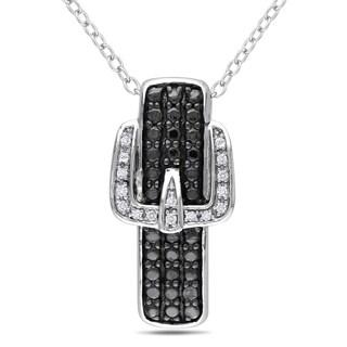 Miadora Sterling Silver Diamond Buckle Necklace