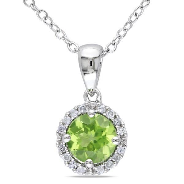 Miadora Sterling Silver Peridot and Diamond Necklace (G-H, I1-I2)