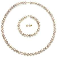 DaVonna 14k Yellow Gold 6-7mm Pink  Freshwater Pearl Necklace Bracelet and Earring Set