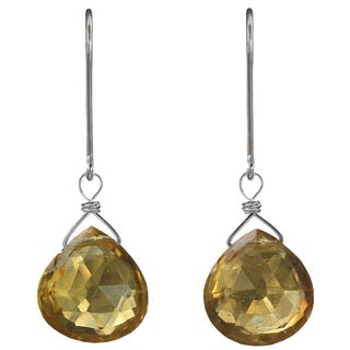 Citrine Briolette, Genuine Gemstone Sterling Silver Handmade Earrings. Ashanti Jewels