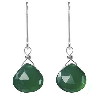 Handmade Ashanti Sterling Silver Green Chalcedony Earrings (Sri Lanka)