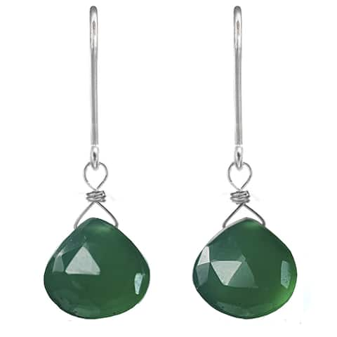 Green Chalcedony Silver Earrings