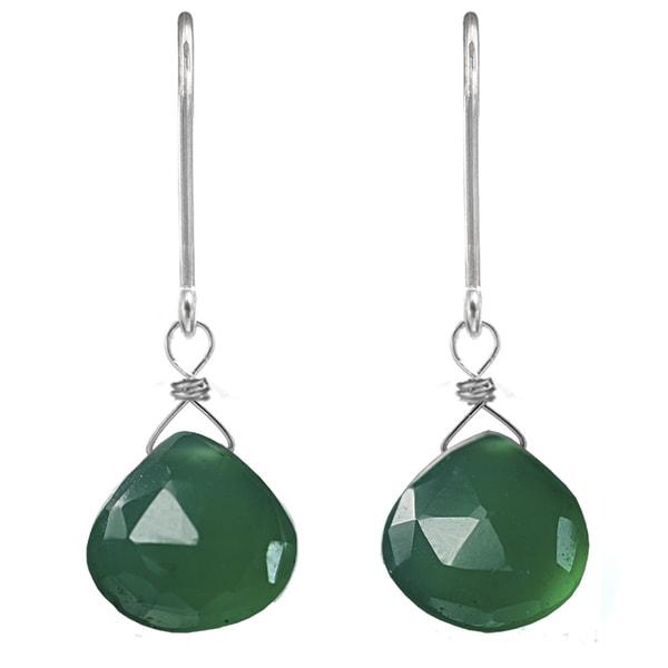 Green Chalcedony Silver Earrings. Opens flyout.