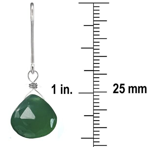 Green Chalcedony Silver Earrings