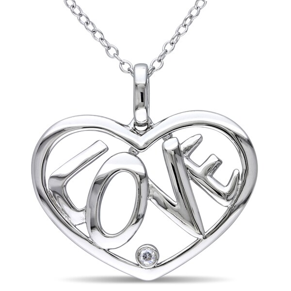 "Miadora Sterling Silver ""LOVE"" Diamond Heart Necklace"