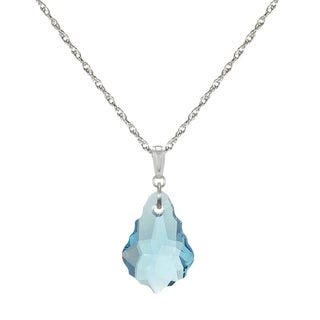 Jewelry by Dawn Sterling Silver Aquamarine Crystal Baroque Rope Chain Necklace